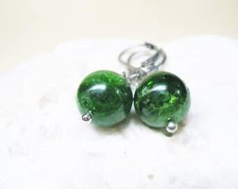 Diopside Earrings Chrome Diopside Earrings Diopside Jewelry Gemstone Earrings Diopside Charm Dangle Earrings Healing Crystal Charm Earrings