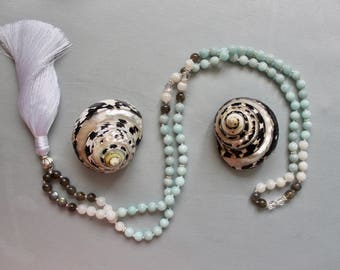 Amazonite & Moonstone Mala Necklace