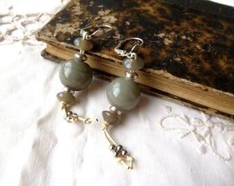 Earrings grey ceramic beads