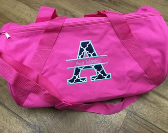 Personalized Overnight Duffle Bag, Monogrammed Kid's Bag, Dance Bag, Travel Bag, Sleepover Bag, Applique, Customized Bag, Children's Bag