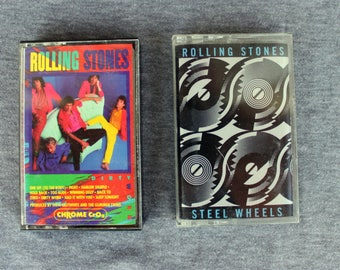The Rolling Stones- Two 80s Albums on Cassette Tape- Dirty Work and Steel Wheels