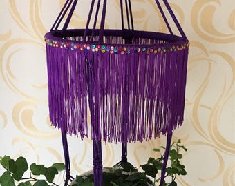 Macrame plant hanger. Hanging flowerpot holder. Purple yellow macrame plant hanger. Decoration for window. Cord polypropylene.