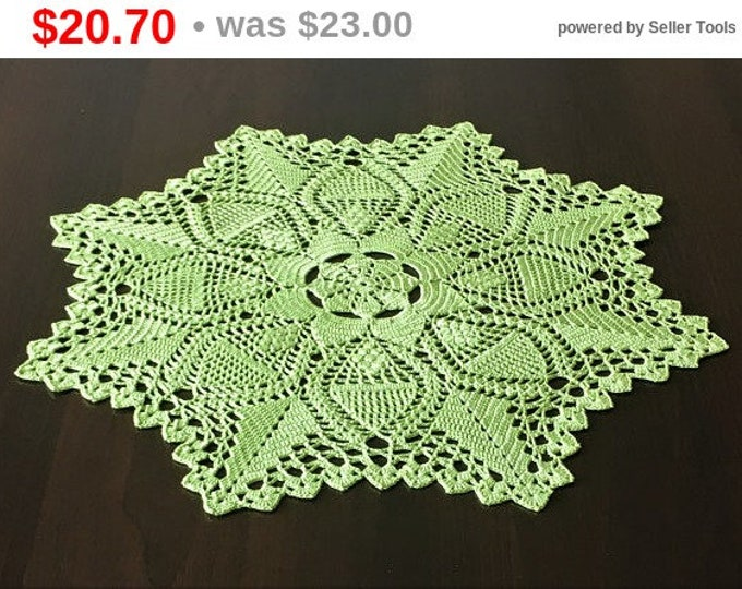 Green napkin centerpiece Doily crocheted doily rustic decor coffee table doily crochet coaster table mat kitchen coasters kitchen accessory.