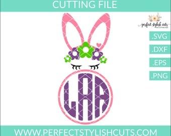 Easter Svg, Bunny Svg, Easter Monogram Svg, Bunny Face Svg, Easter Bunny Svg, Easter DXF, EPS, PNG, Circle Monogram Svg, Easter Girl Svg