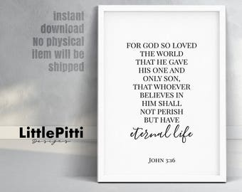 For God So Loved The World, John 3 16, Scripture Printable, Bible Verse Wall Decor, Bible Verse Art, Christian Wall Art, Christian Printable