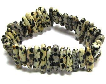 """25mm dalmatian jasper stick stretch bracelet 8"""" 32521"""