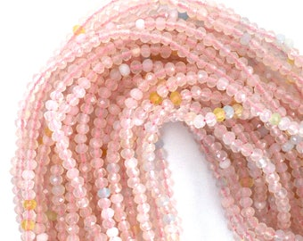 "3.5mm faceted pink quartz rondelle beads 15"" strand 39304"