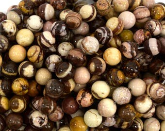 "8mm brown zebra jasper round beads 15.5"" strand 38973"