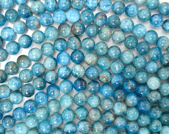 "6mm natural blue apatite round beads 15.5"" strand S4 38497"