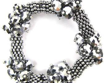 "Crystal silver plated daisy stretch bracelet 7"" silver 11920"