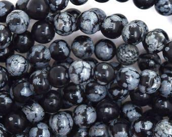 "8mm black snowflake obsidian round beads 15.5"" strand 35813"