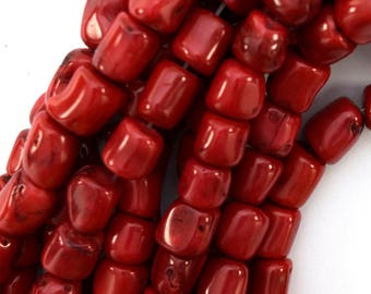 "11-13mm red coral nugget beads 16"" strand 39482"