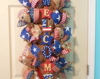 XMAS in JULY SALE-15%off 4th of July swag, Fourth of July Wreath, 4th of July swags, Fourth of July wreaths, Patriotic swag, patriotic wreat