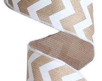 2.5 x 10yards - Tan and white chevron, chevron ribbon, Natural and white chevron, tan and white chevron, beige and white chevron, ribbon