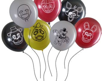 FNAF Five Nights at Freddy's Birthday Balloons - 7 of kids most favorite characters!