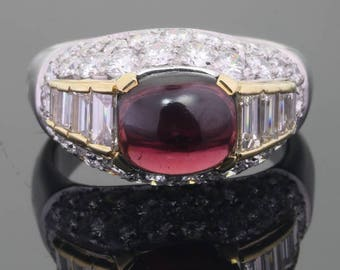 Vintage diamond ring 3.60ct diamonds and big garnet - free resizing - 18K white gold high quality diamonds and garnet Ring size 58