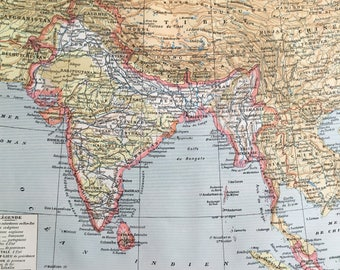INDIA.Old map. 1904's. Old print.Color. 12,2 ins  x 9,45 ins