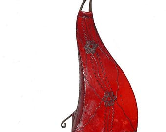 Moroccan henna lamp Oriental floor lamp made of Leather Marrakech-50 cm