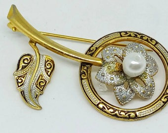Vintage Damascene pin, Toledo, flower pin, vintage pin, 1960s vintage pin, vintage flower pin,  wedding jewelry, wedding pin, flower brooch