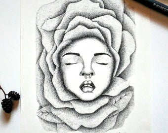 Unfold Original Pen and Ink Pointillism Drawing of Woman In Flower