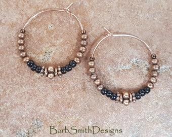 "Beaded Black Copper Rose Gold Hoop Earrings, 1"" Diameter in Black and Matte Copper"