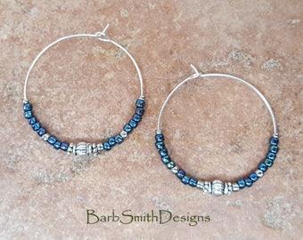 """Beaded Cosmos Blue and Silver Hoop Earrings, Large 1 3/8"""" Diameter in Cosmos"""