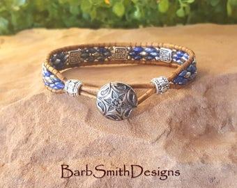 """ON SALE!  Blue Southwest Beaded Bracelet-Blue Silver Wrap-Beaded Leather Bracelet-Silver Celtic- Size 6 5/8""""-Silverada in Blue"""