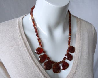 Hessonite garnet necklace - honey brown - gold - GemChristina GR2978