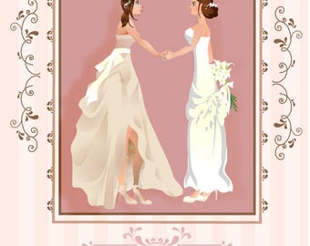 Personalised and Printable Lesbian Wedding Card