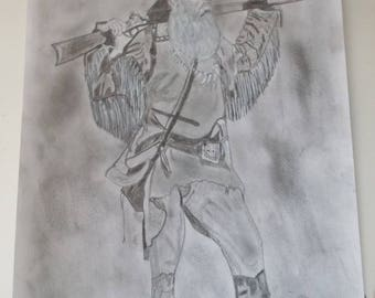 Drawing of a trapper (mountain man) realized in pastels