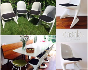 Rare vintage Casalino chairs (set of 4) by Casala, Germany. Designed by Alexander Begge in 1971. Mid Century Modern Scandic mad men.