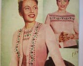 Original Weldons 1940s Fair Isle Twin Set Knitting Pattern