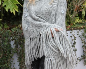 Knit Wool Poncho - Textured-Knit Poncho - Wool poncho - Light Grey poncho -  Wool merino - Hand-knitted poncho -