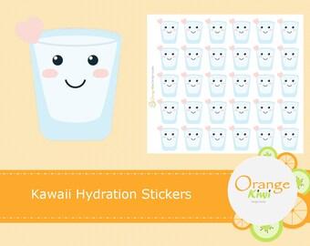 Kawaii Water Stickers, Hydration Stickers, Water Stickers, Kawaii Stickers, Daily Water Tracker, Fitness Stickers, Water Tracker Stickers