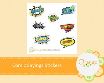Comic Sayings Stickers, Sample Sticker Set, Planner Stickers