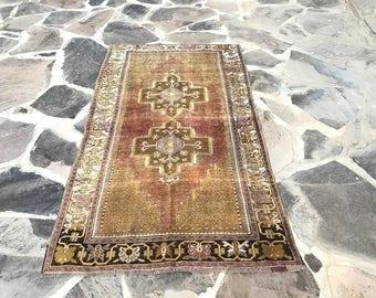 Oushak Rug , perfect condition,Turkish Rug, 3.7 x 6.4 ft, Oushak Area Rug, 198 x 113 cm, Antique rug, Living Room Carpet, pastel rug, rugs
