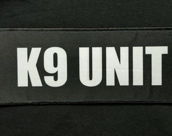 """K9 Unit 3x8"""" Hook Plate Carrier Raid Patch Security Police SWAT Sheriff Black"""