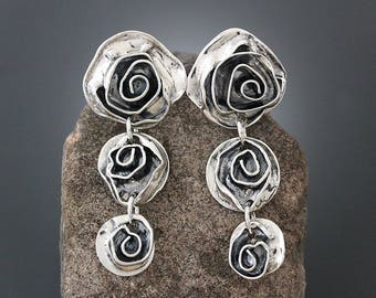 Sterling Silver Rose Earrings - Silver Earrings - Large Earrings - Flower Earrings - Statement Earrings - Long Stud Earrings - Post Earrings