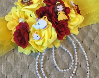 Belle beauty and the beast belly pregnancy sash corsage