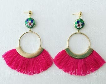 PINK Fringe Earrings | green, blue, white, cloisonné, chinoiserie, statement earrings, gold, hot pink, lightweight, post earrings