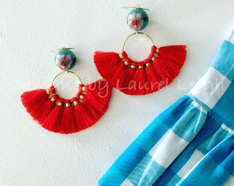 RED and TURQUOISE Fan Earrings | fan, lightweight, cloisonné, chinoiserie, gold, statement earrings, Designs by Laurel Leigh