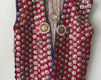 Unique Short Vintage Red Genuine Leather Vest With Metal Rivets Men's Size Medium.