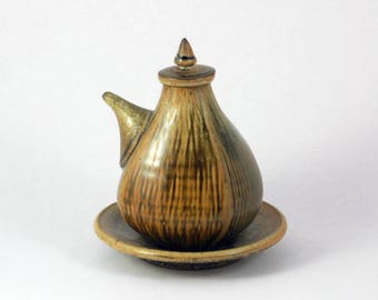 Handmade Ceramic Soy Bottle, Pottery Corked Pouring Bottle, Gold and Green, With Saucer