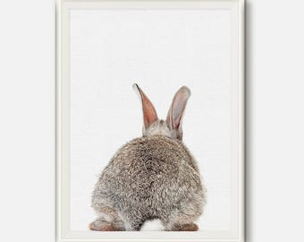 Rabbit Butt Tail, Rabbit Print, Printable Nursery, Bunny kids room, Woodlands Decor, Cute Rabbit Wall Art, Bunny Wall Decor, Nursery Art