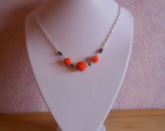 Trendy orange flowers bridal necklace and black beads