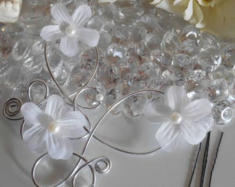 Trio white flowers wedding hair jewelry