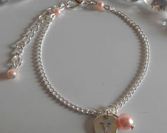 Soft pink personalized silver initial bracelet