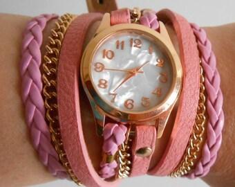 Pink Fashion and Casual 2016 cuff watch