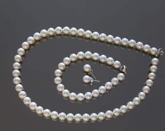 Sample Sale - Swarovski Creamrose Light Pearl Stud Earrings, Bracelet and Necklace set (Sterling Silver)
