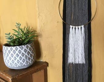 Black, Grey, White, Gold Hoop Macrame
